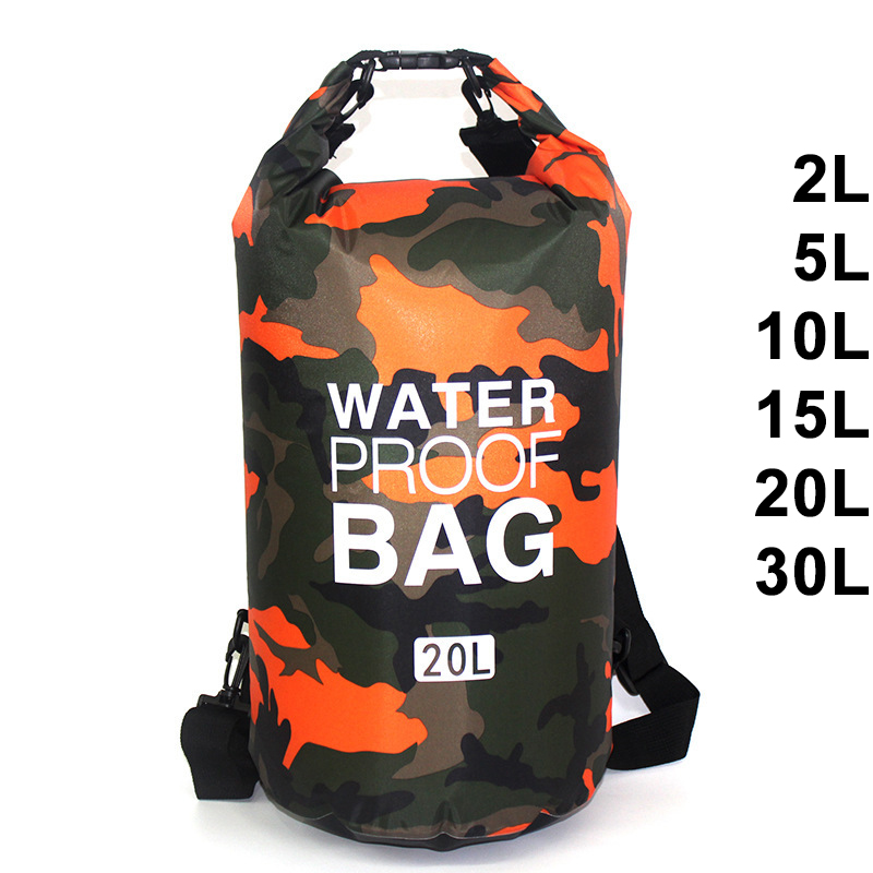 Водонепроницаемая сумка для плавания, 30 л, камуфляжный мешок для плавания, рыбалки, катания на лодке, каякинга, сумка для рафтинга, 2л, 5л, 10л, 15...