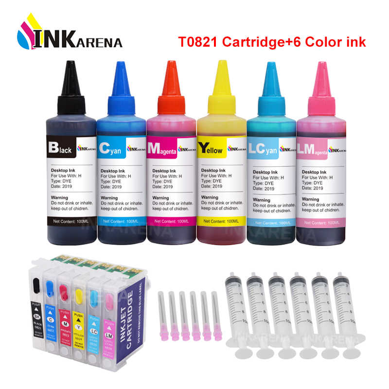 Inkarena 6 × 100 Ml Botol Tinta Dye + T0821 Isi Ulang Tinta Printer Cartridge untuk EPSON STYLUS PHOTO T50 R290 r295 R390 RX590 RX610