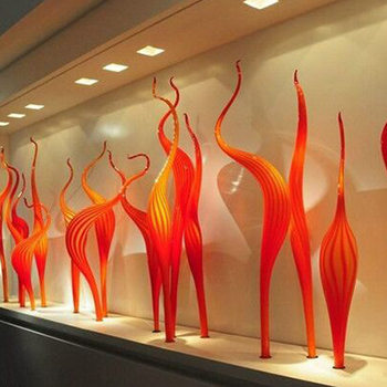 Hot Sale Hand Blown Glass Reed Floor Lamp Orange Murano Glass Sculpture 100% Mouth Blown Glass Sculpture for Party Garden elegant hotel big murano chandelier and hand blown glass chandelier