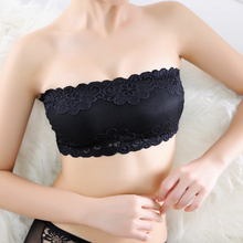 Women White Black Lace Tube Top Sexy Bra Lace Bra Chest Wrapped Wire Full Cup Strapless Crop Tops white strapless knot at sleeves lace top