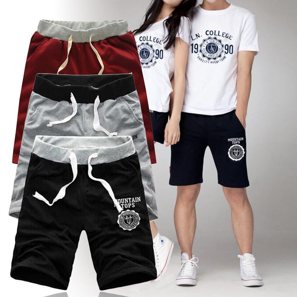 Comfortable Middle Waist Summer Women Men Casual Cotton Blended Beach Shorts Five Sub Pants Waistband Elasticized Cuffs