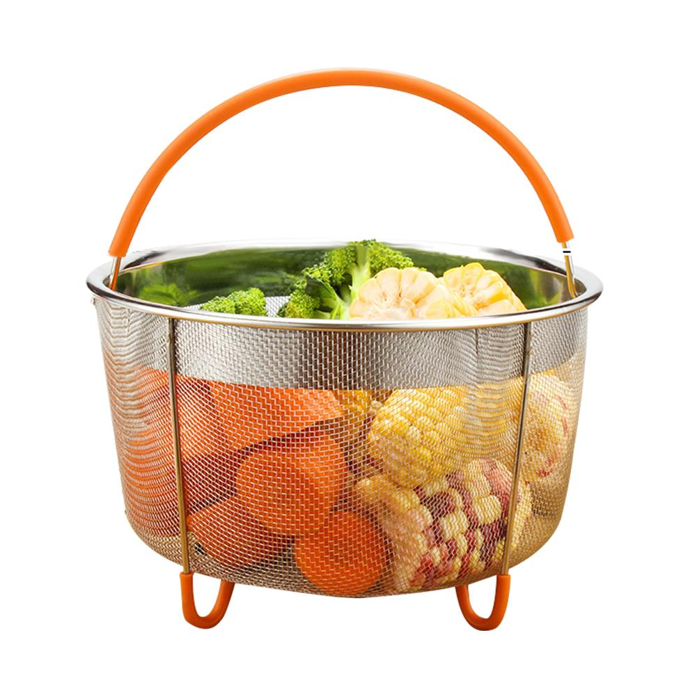 304 Stainless Steel Steam Basket Rice Cooker Pressure Cooker Anti-scalding Portable Steamer Multi-function Fruit Cleaning Basket