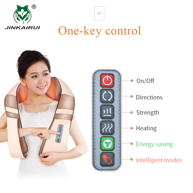 JinKaiRui U Shape Electrical Shiatsu Body Shoulder Neck Massager Back Infrared 4D kneading Massage Car Home Best Gift HealthCare 2