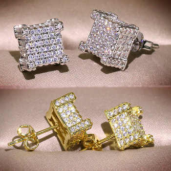 Bling Zircon Stone Hip Hop Silver Gold Square Stud Earrings for Man Women Korean Earrings 925 Silver - DISCOUNT ITEM  40% OFF All Category