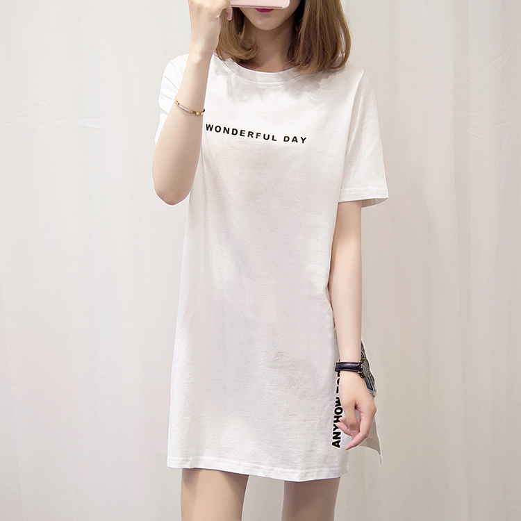 H8a8dd851f0334a84a54db69479d0279fO - Nkandby Plus size WONDERFUL DAY Print Long T shirts Summer Women Loose Slit Femme Tops Cotton Tshirt Short sleeve Ladies t-shirt