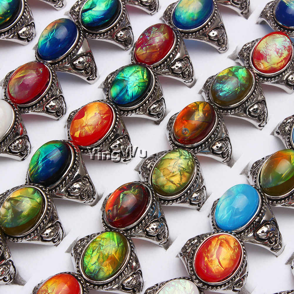 Yingwu 1 PC ผสมแหวนเครื่องประดับสำหรับของขวัญผู้หญิงหินธรรมชาติรูปไข่ลูกปัด Amazonite Carnelian ONYX Agate Bohemian สไตล์นิ้วมือแหวน