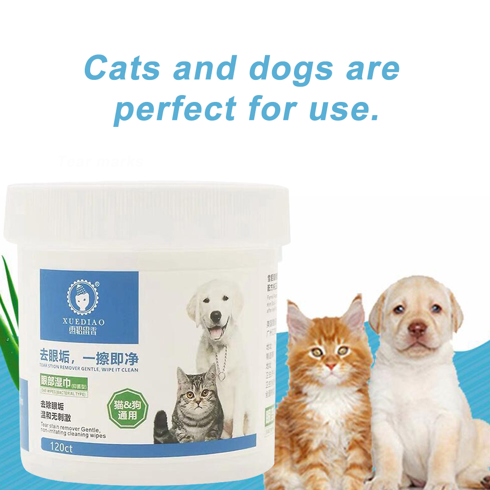 120pcs Pet Round White Wipes Dog Cat Safety Gently Eye Cleaners Tears Stains Aloe Extract Eyes Protecter 15