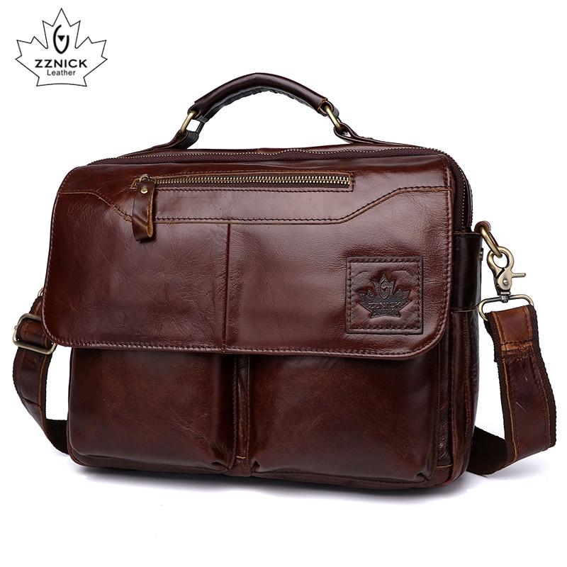 Men's Genuine Leather Bag Office Bags For Men  Leather Laptop Bag Briefcase Shoulder Handbag Luxury Handbag Office Bags ZZNICK