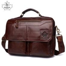 Mens genuine leather bag office bags for men  laptop Briefcase Shoulder handbag Luxury Handbag ZZNICK