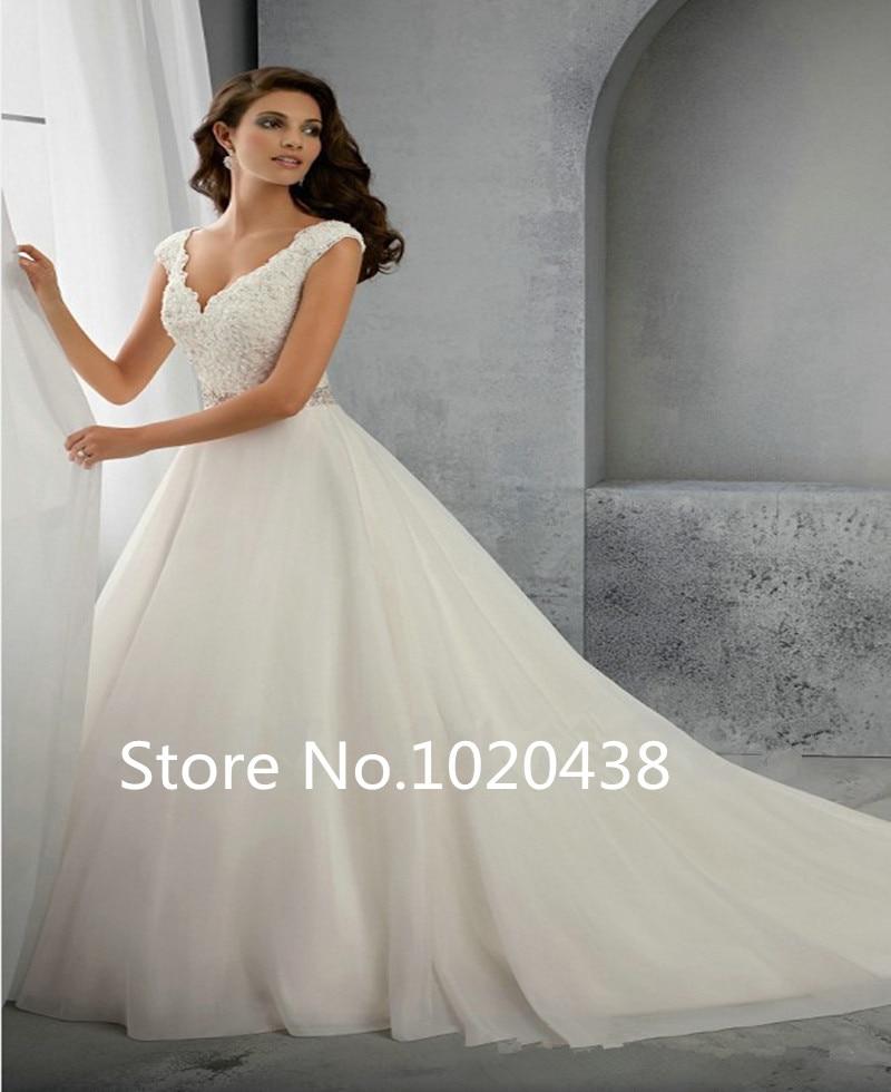Beading A Line Straps Wedding Dress 2016 Appliques Sequins V Neck Wedding Gowns Bridal Dresses Court Train