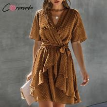 Conmoto 시폰 여름 해변 폴카 도트 드레스 여성 주름 랩 드레스 캐주얼 섹시한 feminino 플러스 사이즈 드레스 vestidos