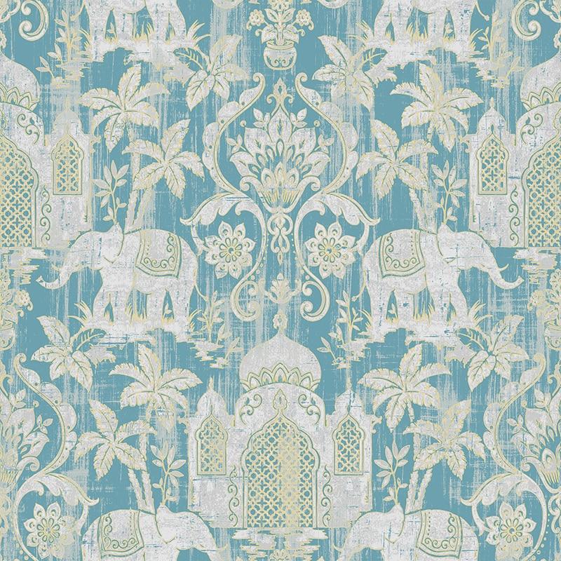 Temple Taj Mahal Elephant Palm Trees Tropical Wallpaper Metallic Shimmer Southeast Asia Thai Style Background Wall Paper
