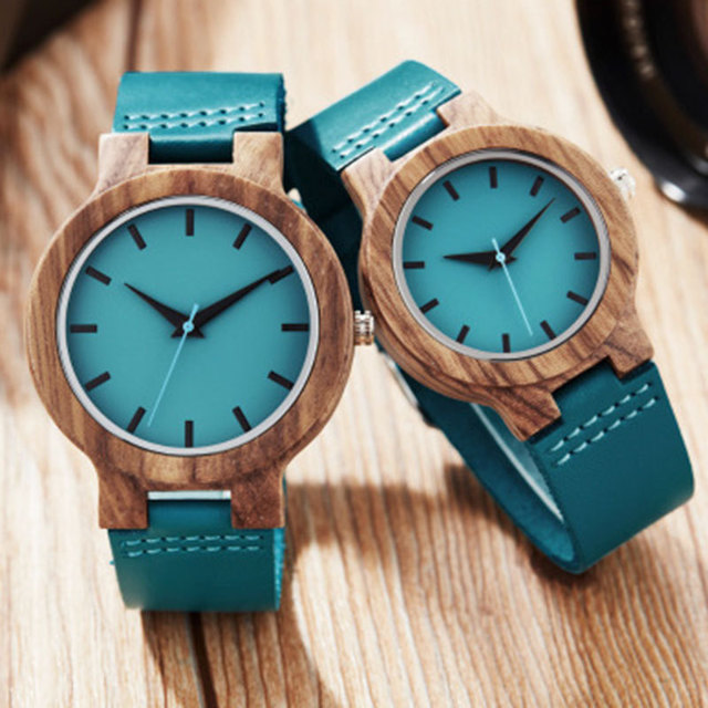 Zebra Wood Watch Genuine Leather Strap Quartz Analog Women Men Couple Wrist Watches