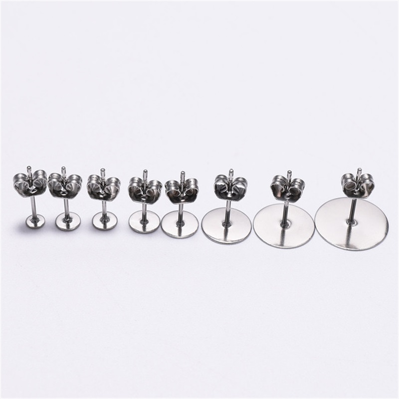 100pcs Stainless Steel Blank Pad Flat Earring Post Studs Base Pins with Ear Back