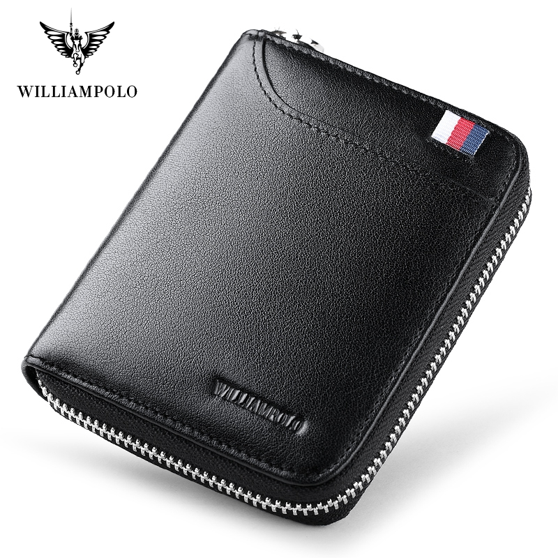 WILLIAMPOLO Leather Men Wallets Wallets Man Card Holder Male Purse Men With Placement PL283