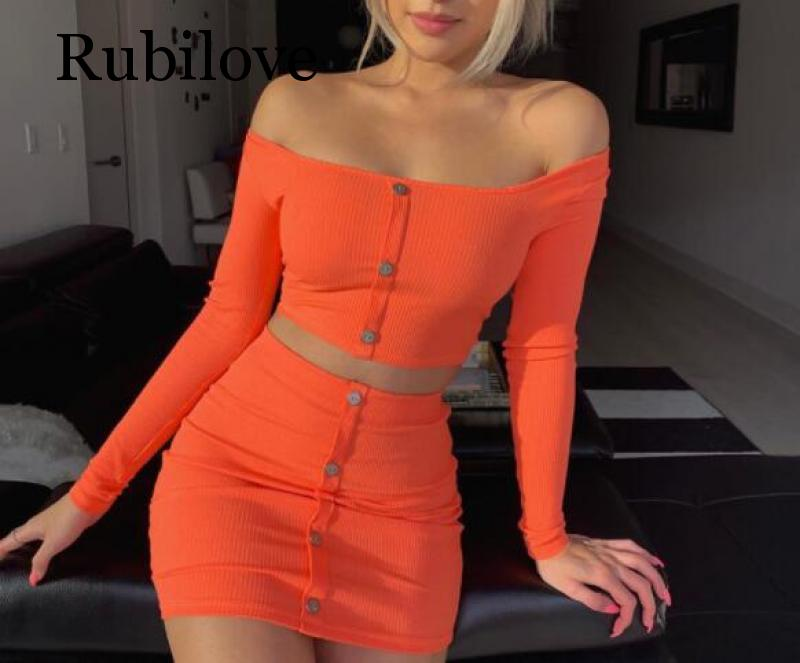 Rubilove Ribbed Cotton Sexy Two Piece Set Dress Women Square Collar Long Sleeve Mini Bodycon Buttons Autumn Party 20