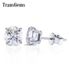 Transgems 14K 585 White Gold 2ct 8mm F Colorless Moissanite Earrings for Women Wedding Gifts Daily Wear Gold Fine Jewelry