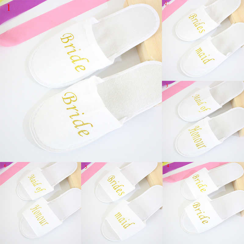 Hotel Travel Spa Disposable Slippers Unisex simple white print golden letters Slippers Home Guest wedding party shoes woman