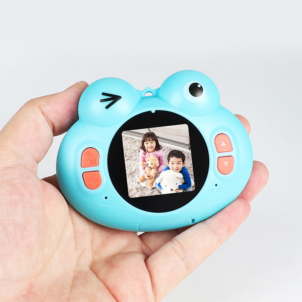 Mini Camera Children Digital Video Camera Small Toy Kids Digital Camera Toys Rechargeable Cartoon Frog Design Children Gift