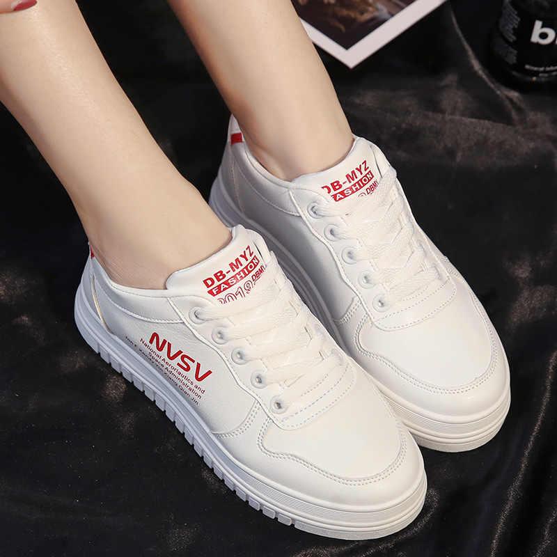 Tênis de corrida das senhoras de baixo-topo plana rendas-up tênis casuais sapatos brancos planos tênis femininos sapatos esportivos zapatillas mujer