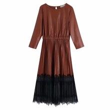 Платье из искусственной кожи, винтажное кружевное лоскутное женское платье, женские плиссированные миди платья, Модное Длинное Платье с эластичной резинкой на талии