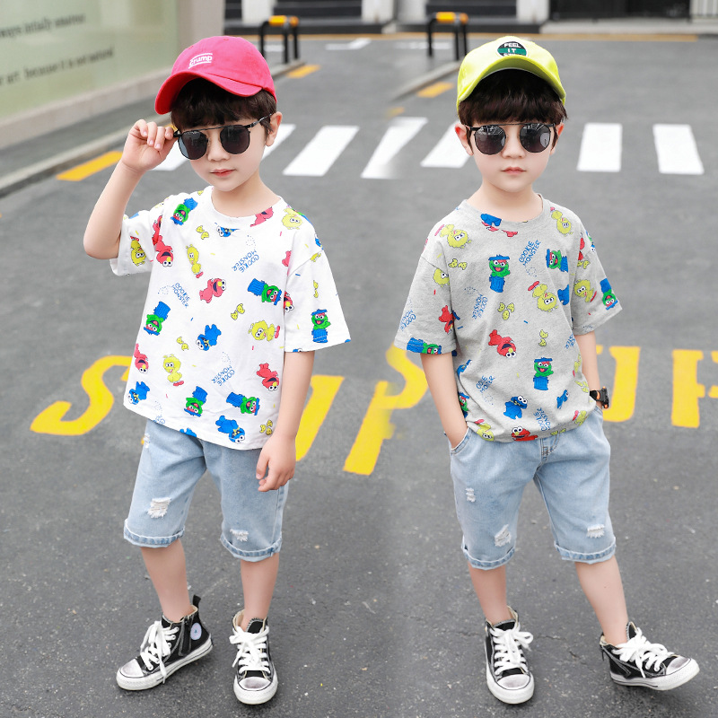 Baby Boys Clothing 2020 Summer Kids Cartoon Tops Tshirt Denim Pants Sport Suit Childrens Short Sleeve T Shirt Jeans Clothes Sets