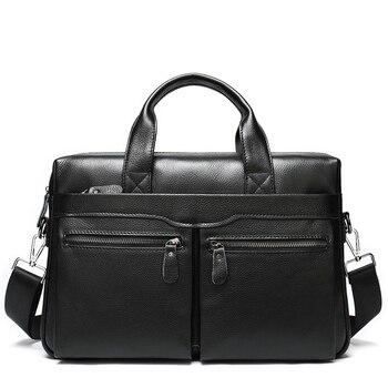 Genuine Leather Laptop Bag Business Embossed Briefcase 14 Inch Computer Shoulder Bag Men Portable KUMON Messenger Laptop Bag