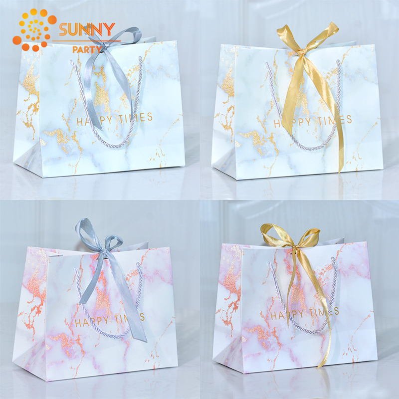 Simple Marble Printed Paper Tote Bag Gold Grey Ribbon Bow-knot Package Bags Birthday Anniversary Gift Packaging Party Supplies