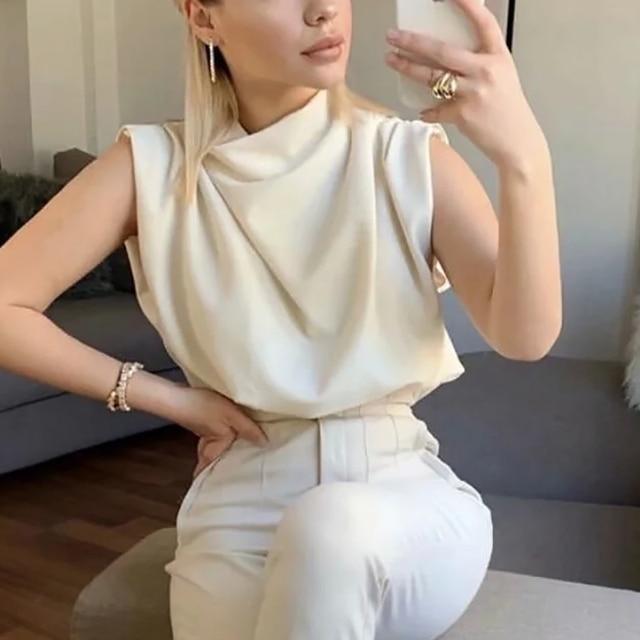 Elegant Stand Collar Soft Shirt 4