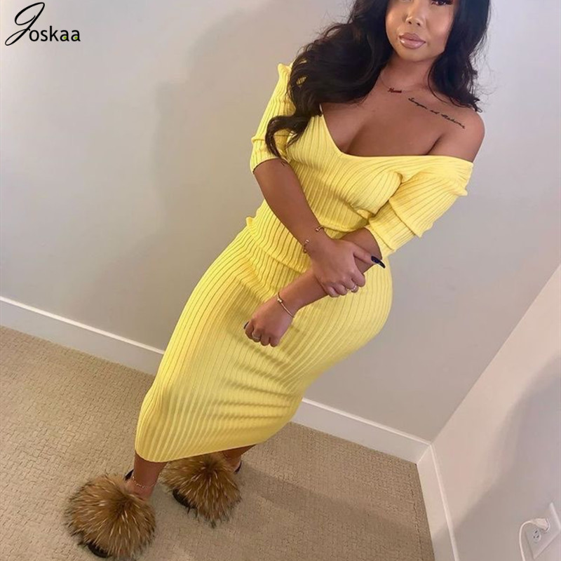 Joskaa Knitted Long Sleeve V Neck Solid Sexy Club Women Stretchy Autumn Midi Brithday Outfit Ribbed Sweater Bodycon Dress