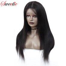 Sweetie 13x4 Lace Front Menselijk Haar Pruiken Braziliaanse Straight Remy Haar Natuurlijke Kleur Pre Geplukt Menselijk Haar Pruiken voor Zwarte Vrouwen