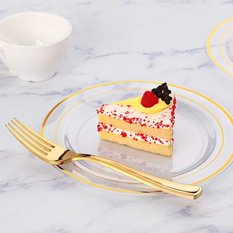 30 10 Plates Includes Inch Disposable Plastic 25 Party Dinner And Plates Plates Plastic Plates 60 Wedding  30 Pieces Gold New