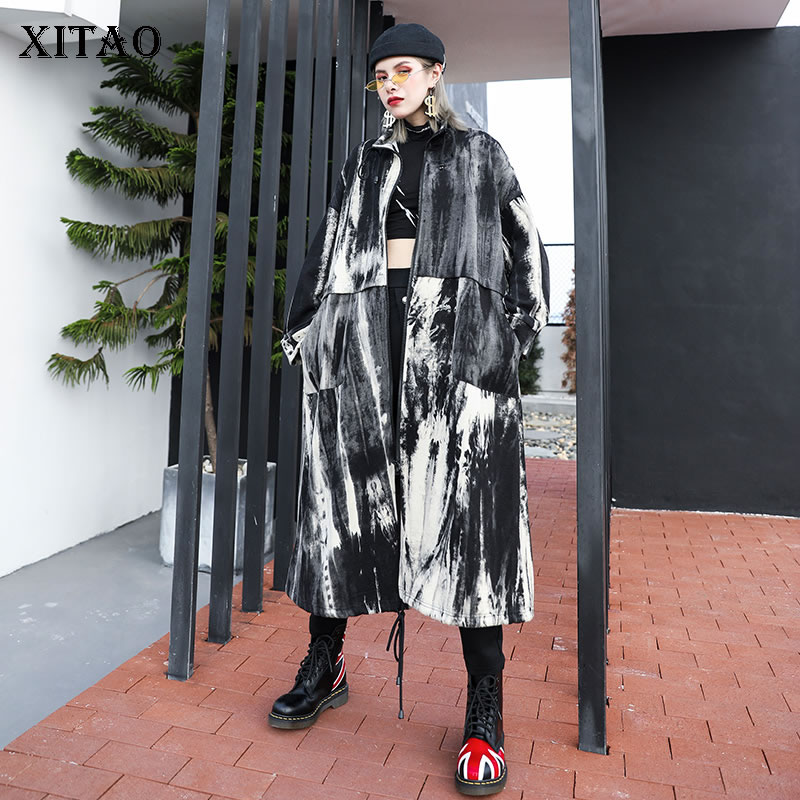 XITAO Plus Size Print Trench Women Fashion New 2019 Autumn Pocket Drawstring Elegant Small Fresh Minority Style Coat GCC2366