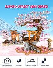 Sembo 601075 cidade rua vista série idéia sakura stall inari santuário bloco de construção romanic cerejeira flor tijolo brinquedo para crianças