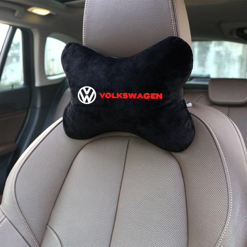 Almohada de cuello para coche, de algodón y franela para reposacabezas de asiento de coche, cojín para el reposacabezas, accesorios para coche para Volkswagen Scirocco CC GOLF Polo Tiguan