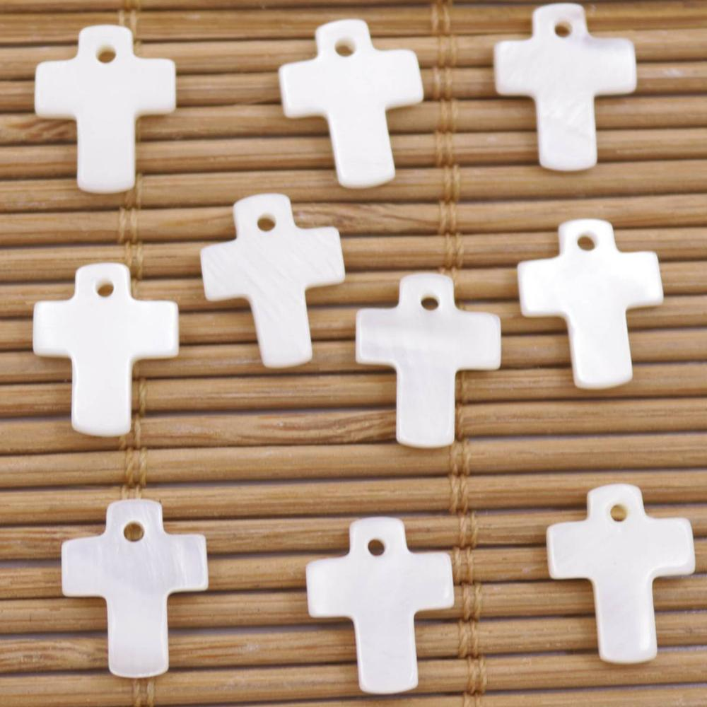 Купить с кэшбэком 10 PCS Cross Shell Natural White Mother of Pearl Earring Pendant Making 10mmX13mm