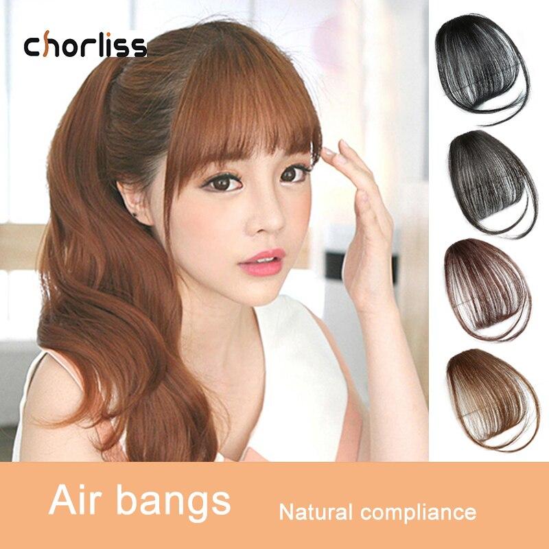 Chorliss Synthetic Air Bangs Clip In Hair Bangs Hairpiece Synthetic Fake Bangs Hair Piece Clip In Hair Extensions Blone Black