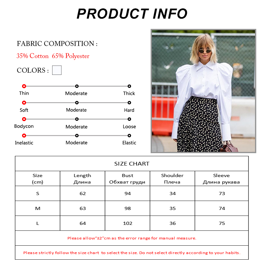 H8a8feaf59fad40d6b39fb8a0de8d30d4g - OOTN Elegant White Puff Sleeve Blouse Women Shirts Office Lady Ladies Work Wear Turn Down Collar Womens Tops And Blouses Female
