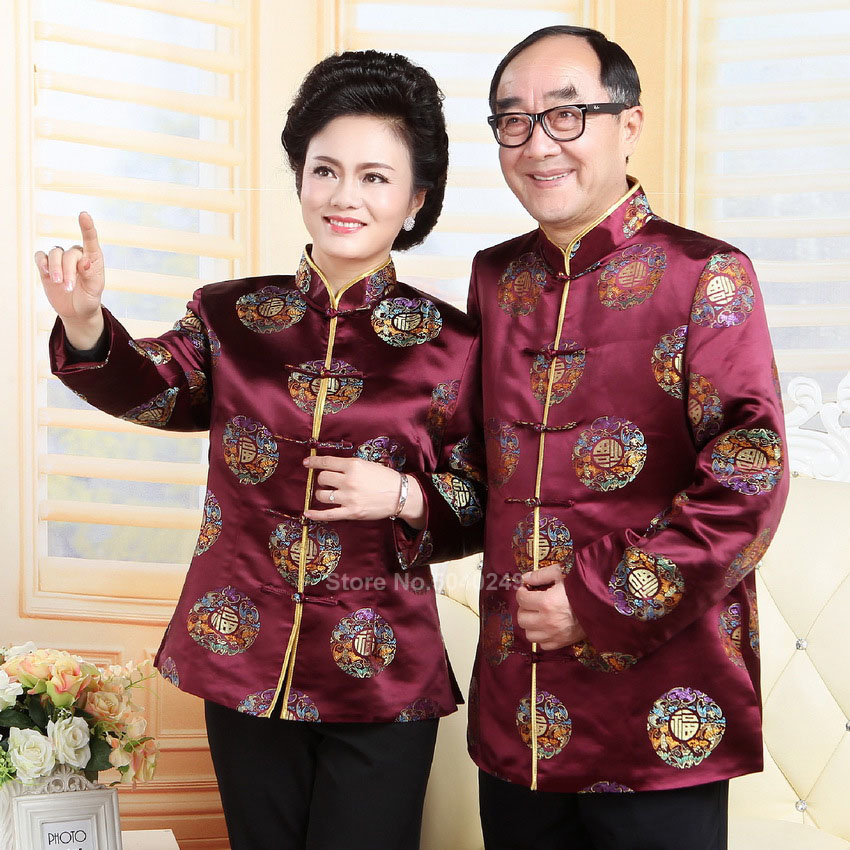 Traditional Chinese Tang Suit Men Women Festival Jacket Red Couple Banquet Blouse Vintage Cheongsam Top Kung Fu New Year Party