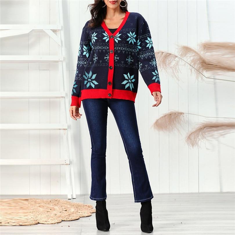 V-Neck Christmas Sweater Long Sleeve Cardigan Women Short Snowflake Print Kimono Cardigan Casual Pull Femme Nouveaute 40OCT212