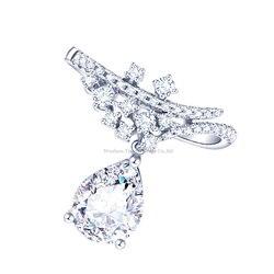 Tianyu Gems gruszka kruszony lód Cut 10k złoty pierścionek zaręczynowy Moissanite 1.6ct 6*9mm DEF/VVS kamienie szlachetne pierścionek ręcznie robiony prezent dla kobiet