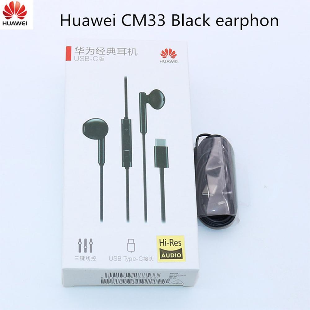 Классические наушники Huawei CM33, наушники-вкладыши с разъемами типа C, гарнитура с управлением стерео для P20 P30 pro p20 Lite Mate 10 honor 9 10