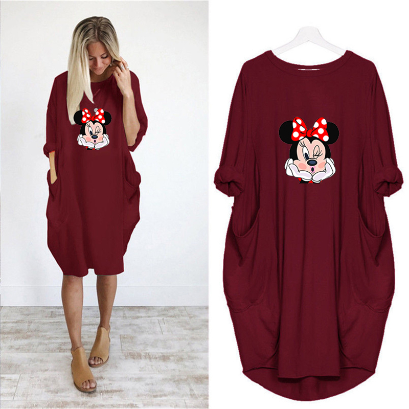 2020 Dress Women Cute Printing Pocket Loose Dresses Vintage Fall Maxi Clothes Party Casual Dresses Woman Plus Size Leopard Dress 26