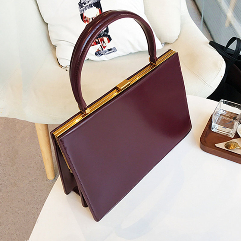 Burminsa Autumn Metal Frame Clasp Handbags For Women Fashion Envelope Design Luxury PU Leather Ladies Tote Bags 2019 Box Packing