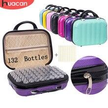 Huacan novo 132 garrafas de diamante pintura caixa de armazenamento ferramenta diamante bordado acessórios saco mão zíper recipiente