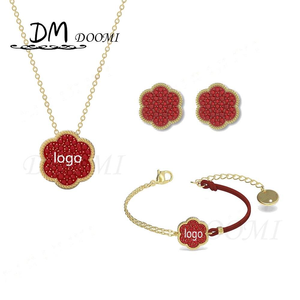 2020 высокое качество SWA 1:1 новые модные ювелирные изделия подвеска простой красный цветок клевер кулон ожерелье Новогодний подарок для девуш...