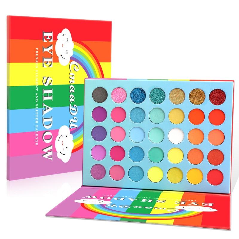 CmaaDU 35 color Rainbow Matte Eyeshadow Makeup Pallete Sequin Metallic Eyeshadow Pallete Waterproof Glitter Eye Makeup