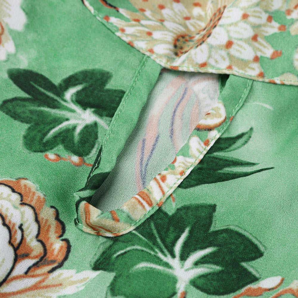 נשים בוהמי שרוולים פרחוני מודפס אישה בגדי o-צוואר רופף קרסול-אורך קיץ החוף קיצי שמלת נשים קיץ Boho