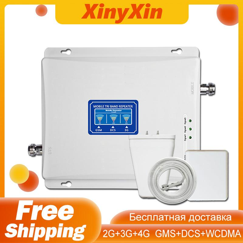Tri Band Repeater GSM 900 WCDMA 2100 DCS LTE 1800 Mhz Cellular Amplifier Booster 2G 3G 4G Cell Phone Signal Booster Amplifier
