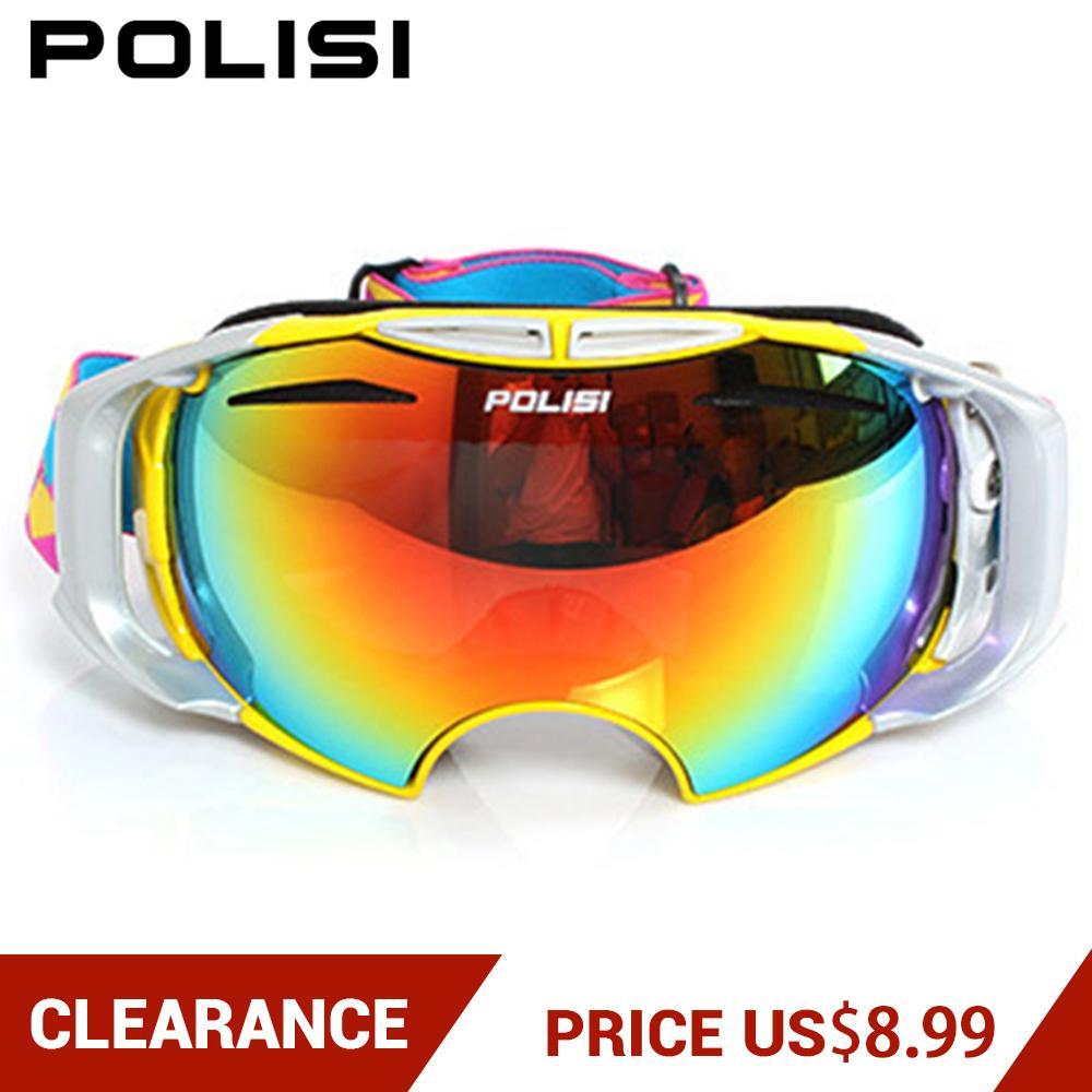 Clearance! Men Women Ski Goggles Ski Glasses Eyewear Snowboard Mountain Skiing Goggles UV Protection Anti-fog Big Ski Mask